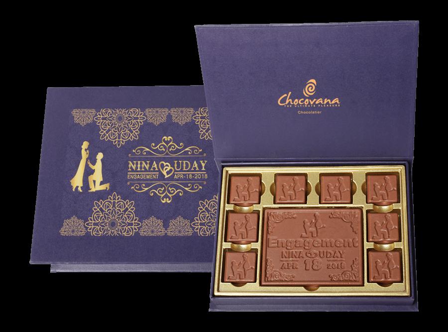 Gracious Engagement, 8 Pcs + 1 Bar In Customized Belgian Chocolates