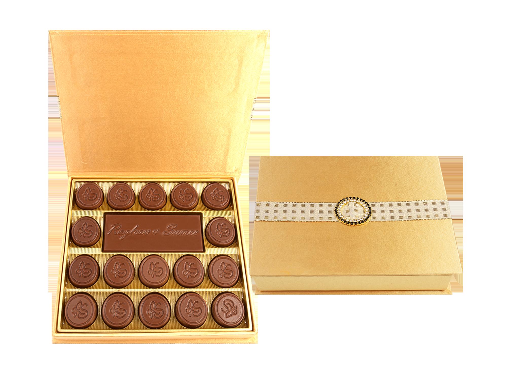Naseema Bar, 17 Pcs +Bar Customized Belgian Chocolate