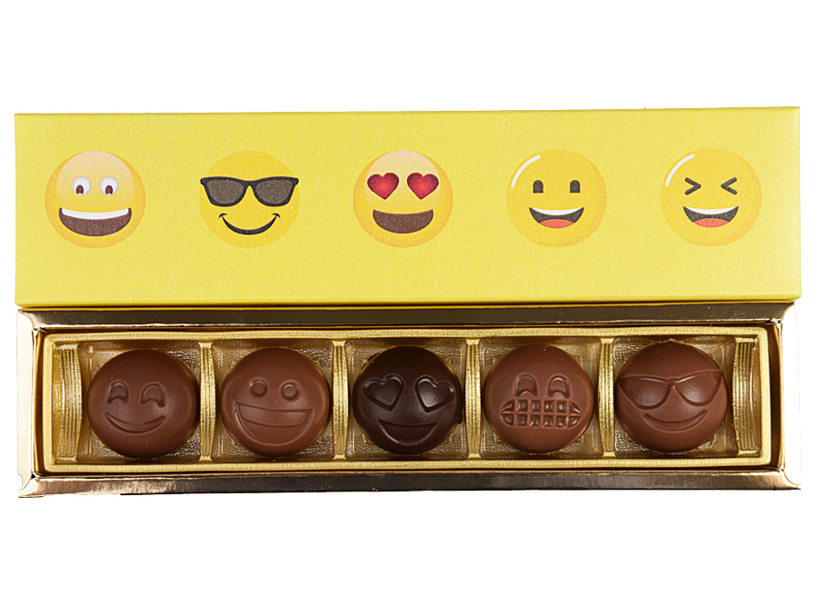 Elegance Emoji, 5 Pcs Customized Belgian Chocolate