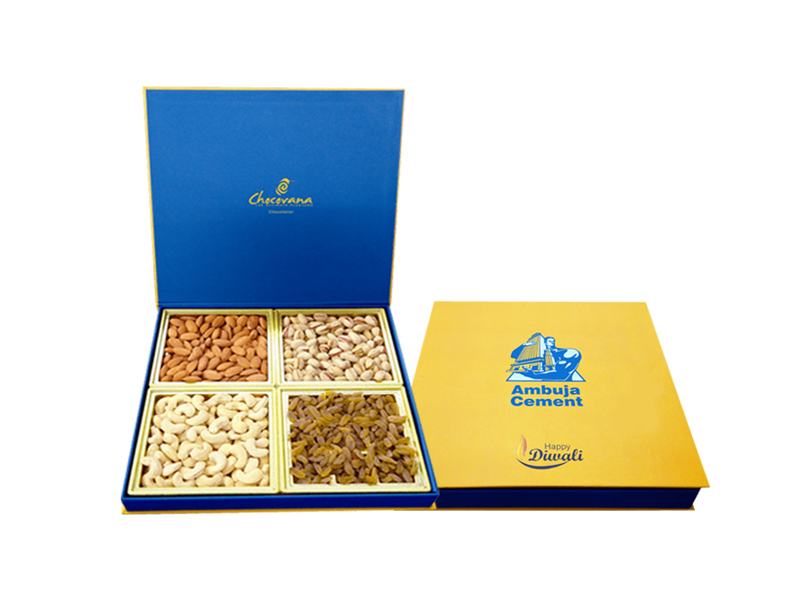 Premium Diwali, 4 Trays Filled With Mixed Nuts