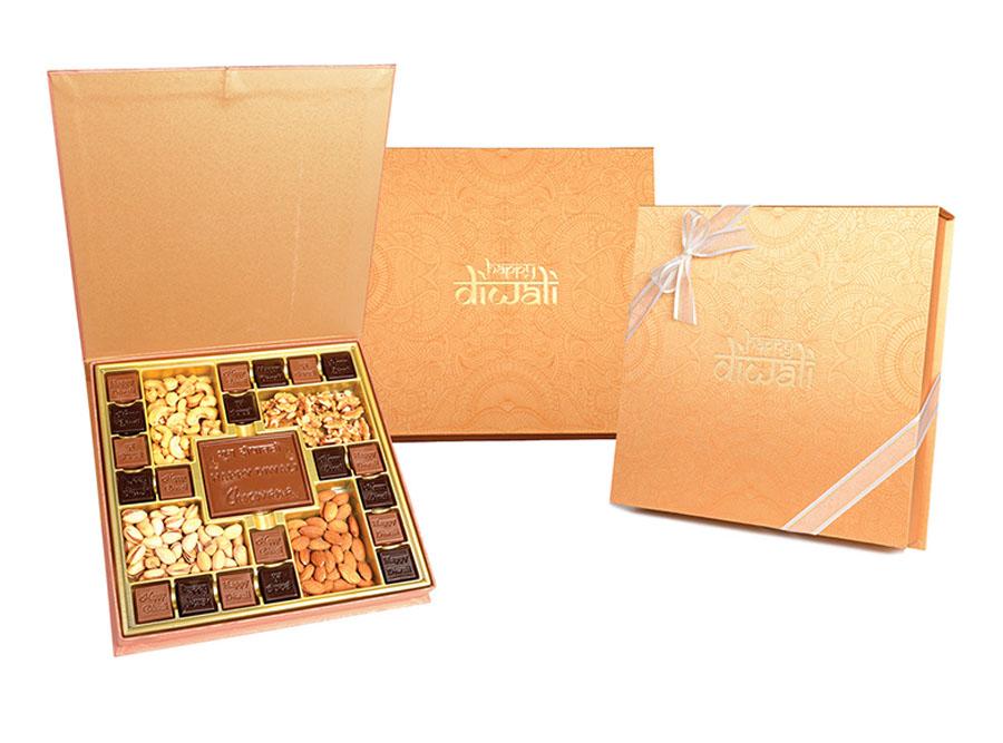 Swastik Diwali, 20 Pcs + Bar In Customized Belgian Chocolate And Mixed Nuts