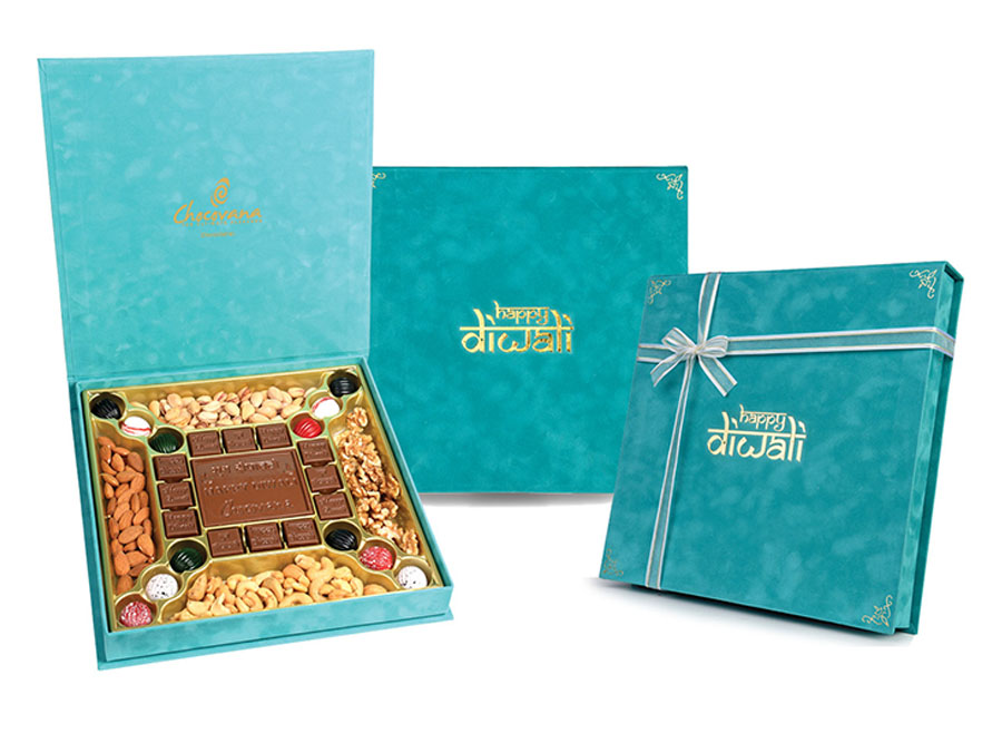 Premium Diwali, 24 Pcs + Bar In Customized Belgian Chocolates With Dates And Mixed Nuts