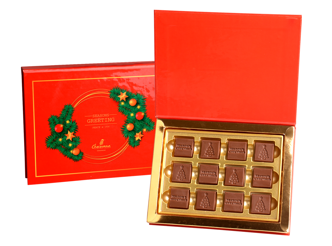 Gracious Seasons Greetings, 12 Pcs In Customized Belgian Chocolate