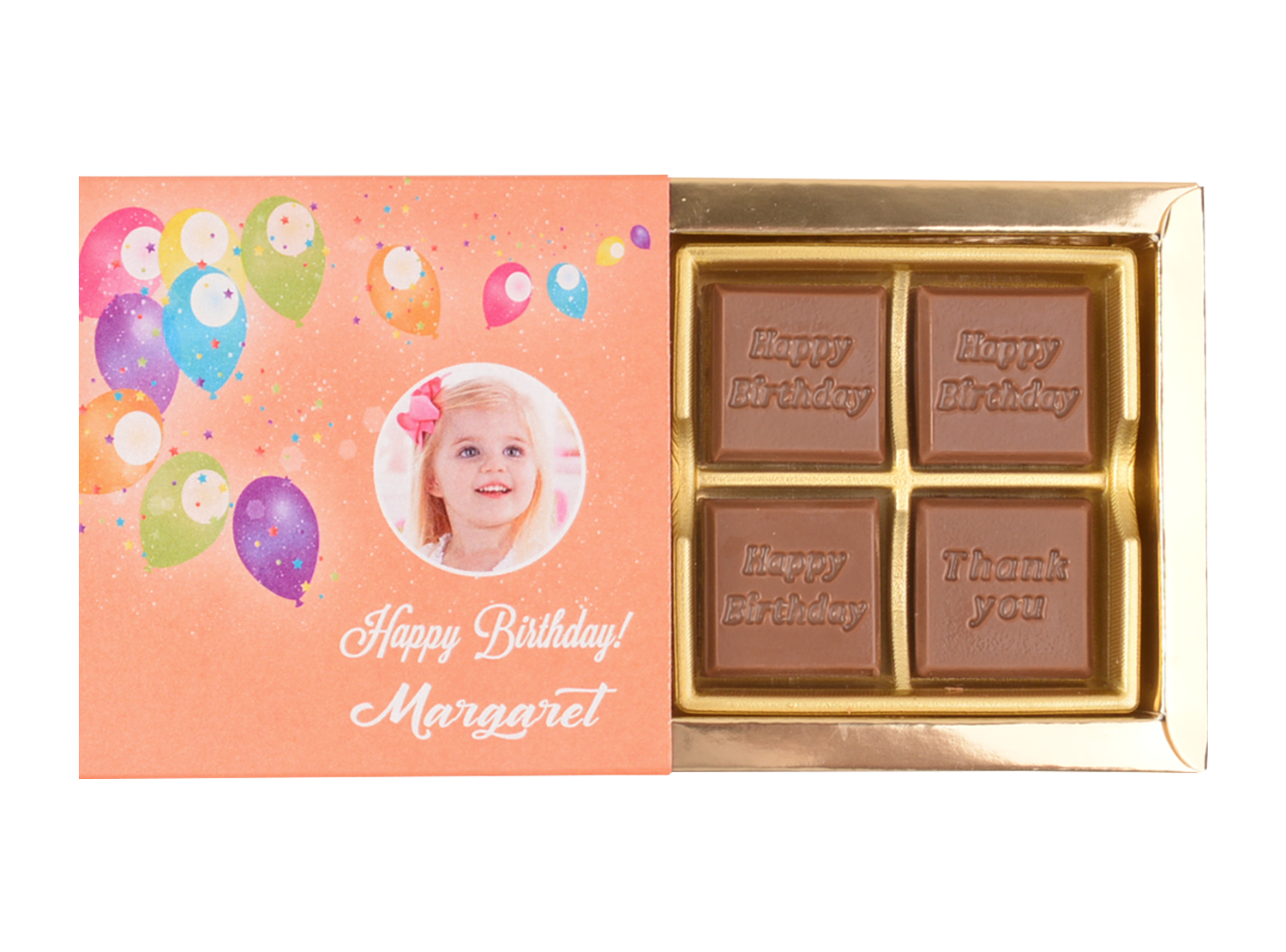 Classic, 4 Pcs Customized Belgian Chocolate. Happy Birthday Return Gift