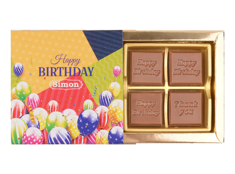 Classic, 4 Pcs Customized Belgian Chocolate. Happy Birthday Return Gift