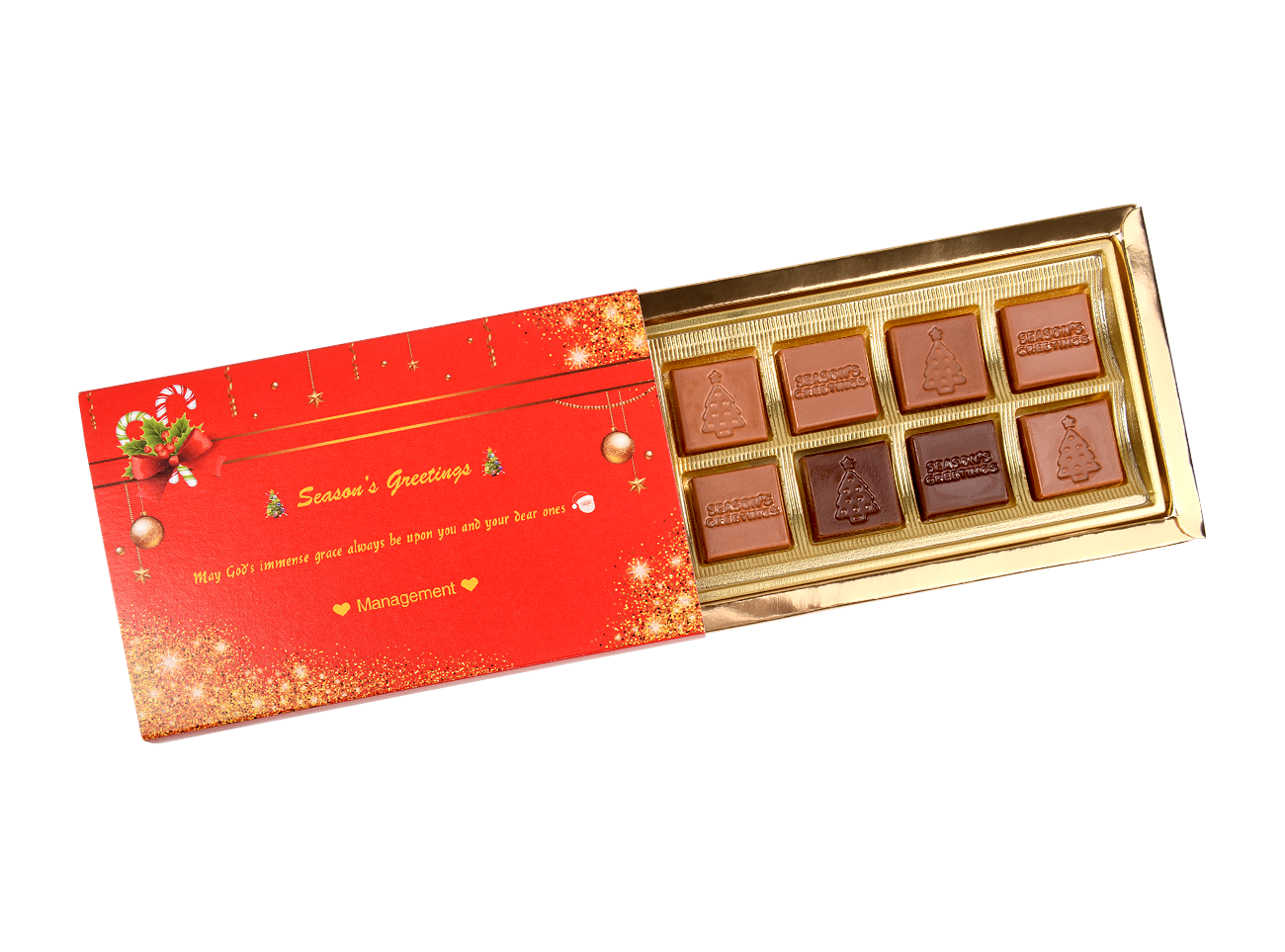Mon Amie Seasons Greetings, 8 Pcs In Customized Belgian Chocolate