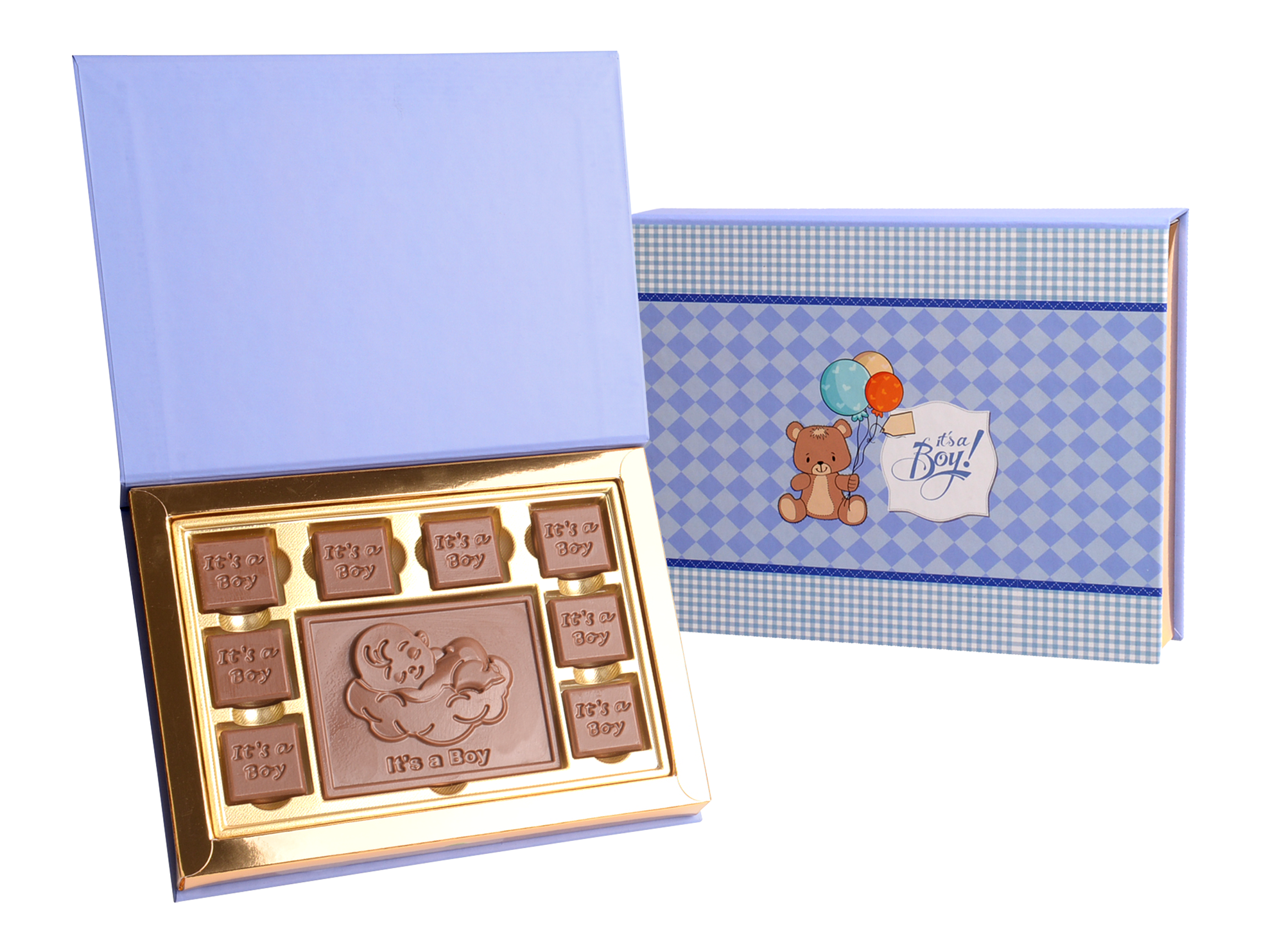 Gracious It's A Boy, 8 Pcs + Bar In Customized Belgian Chocolate