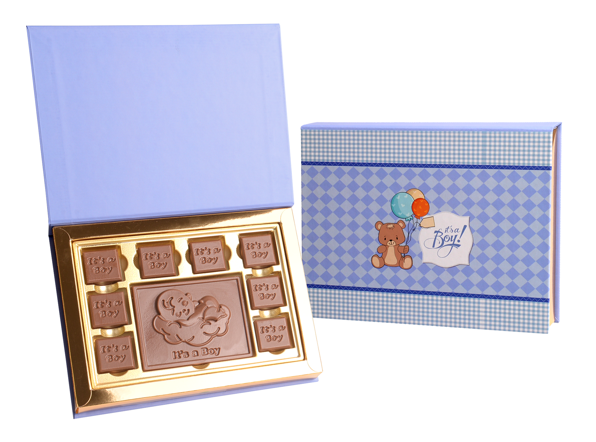 Gracious It's A Boy, 8 Pcs + Bar In Customized Belgian Chocolate