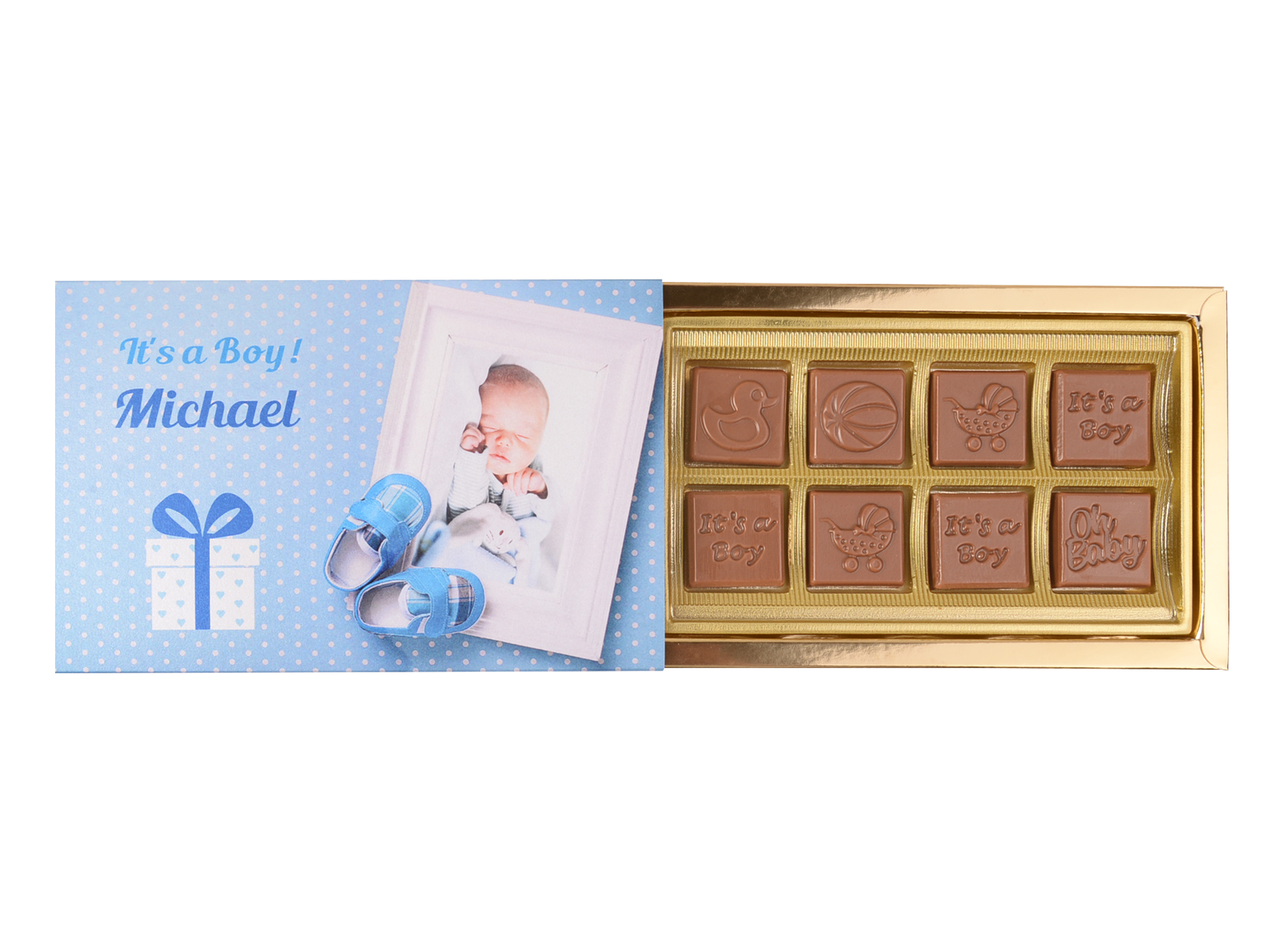Mon Amie, 8 Pcs Customized Belgian Chocolate. It's A Boy Return Gift