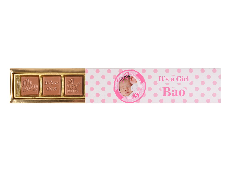 Elegance, 5 Pcs Customized Belgian Chocolate Happy Birthday