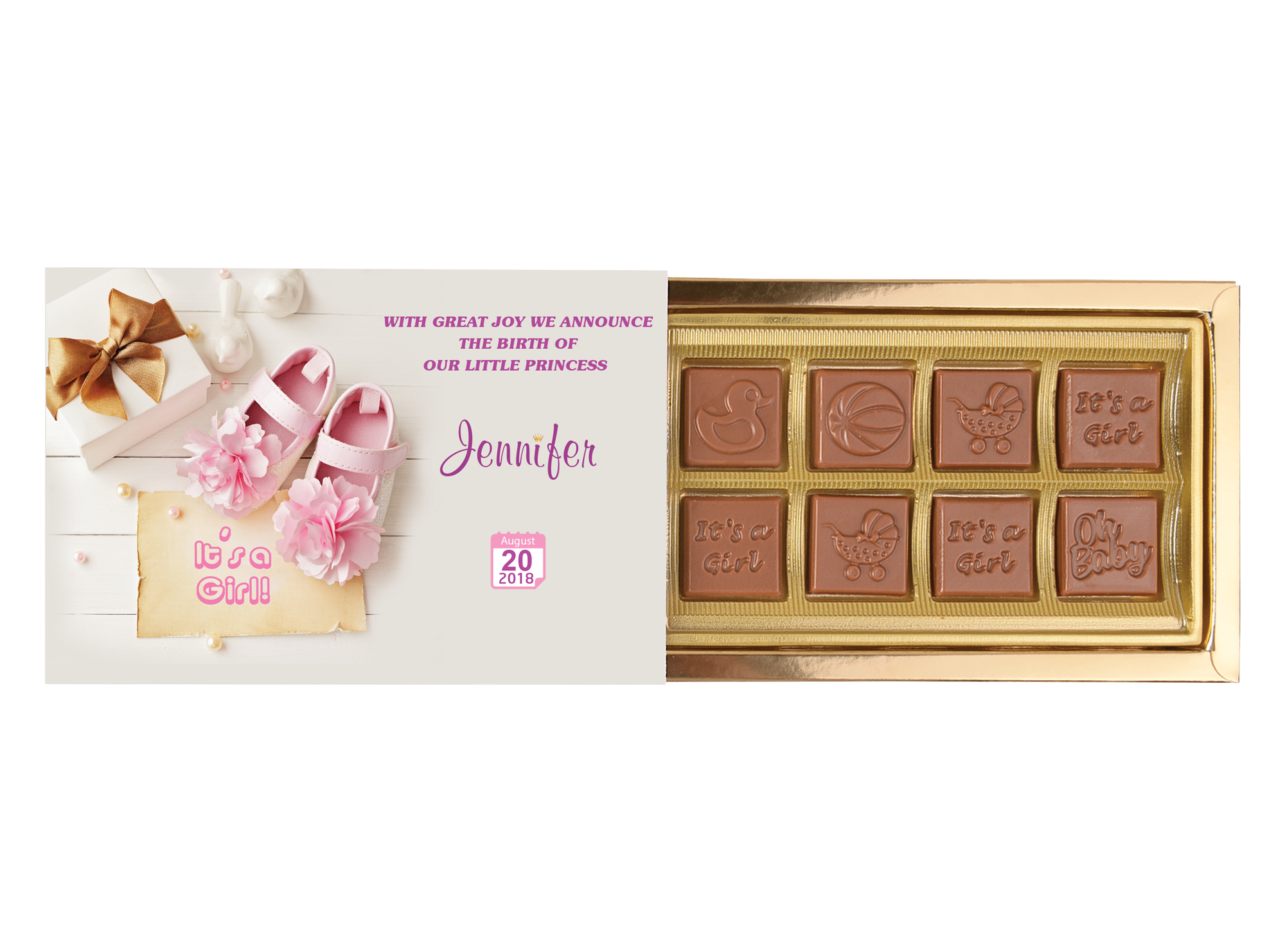 Mon Amie, 8 Pcs Customized Belgian Chocolate. It's A Girl Return Gift