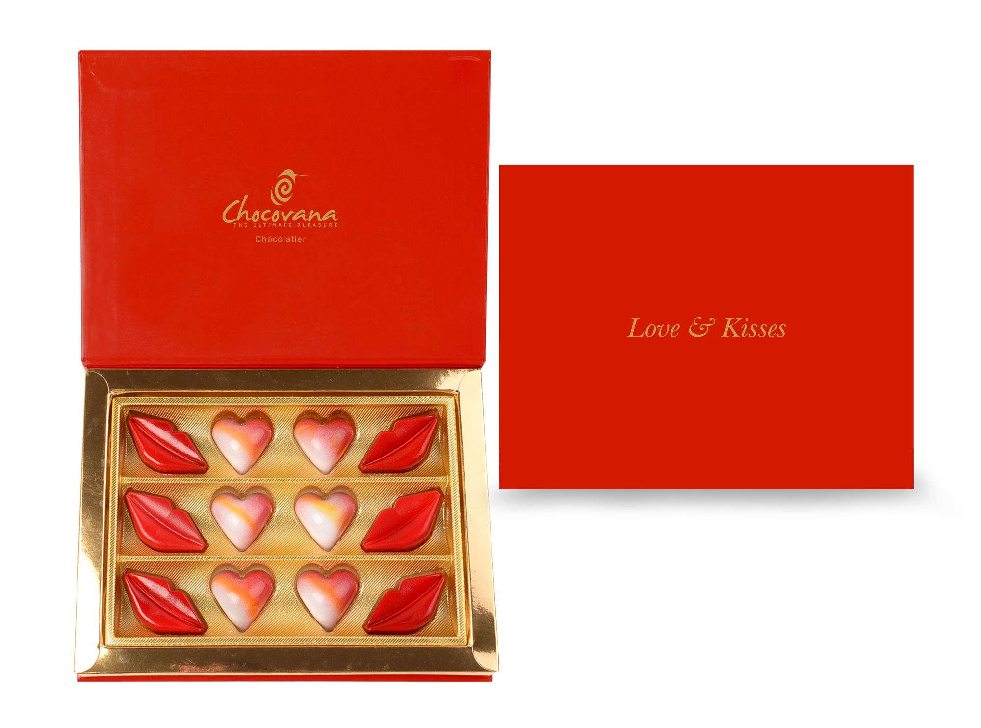 Gracious Love & Kisses, 12 Pcs Customized Belgian Chocolate