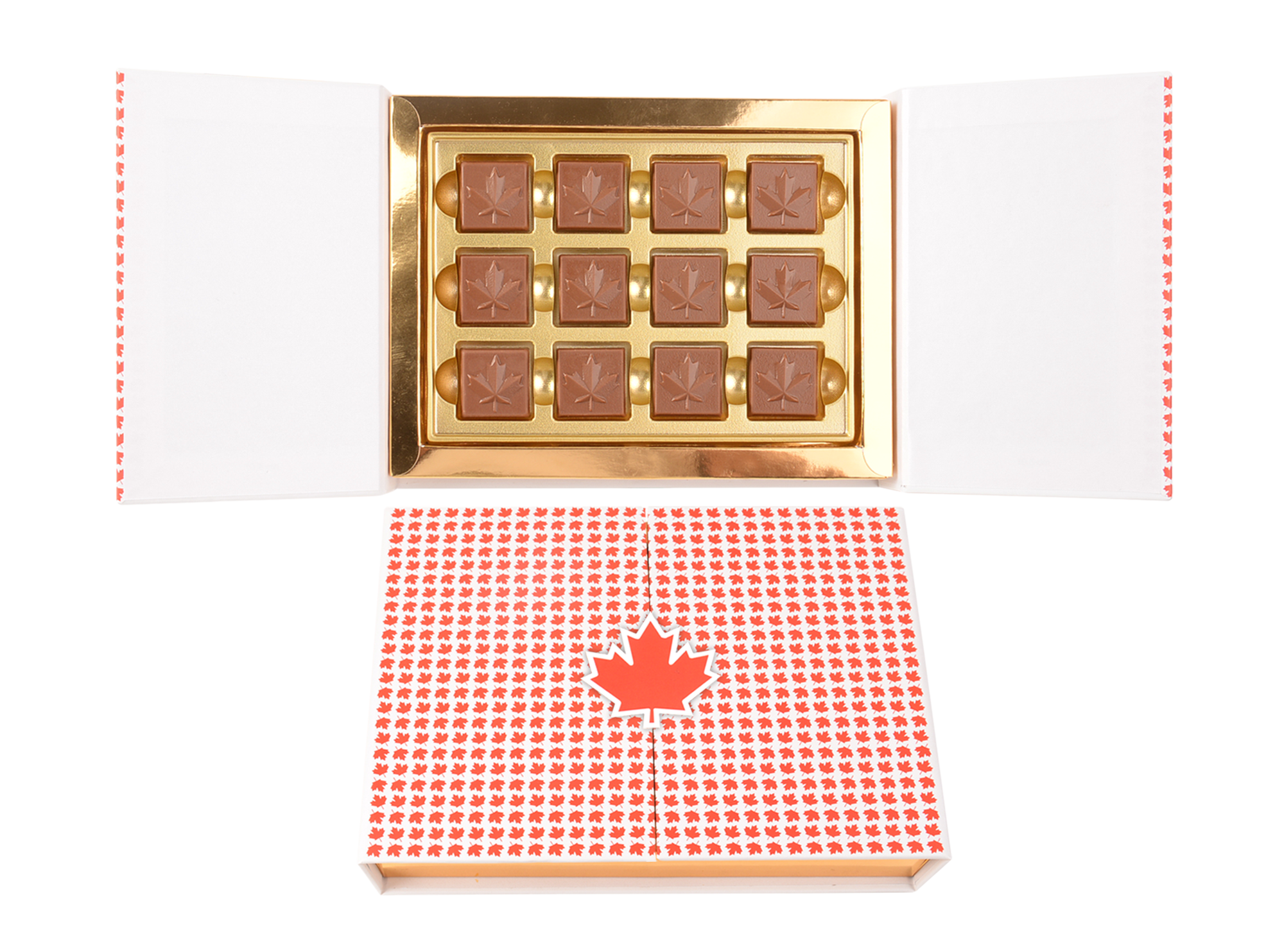 Gracious, 12 Pcs Maple Leaf Collection In Belgian Chocolate