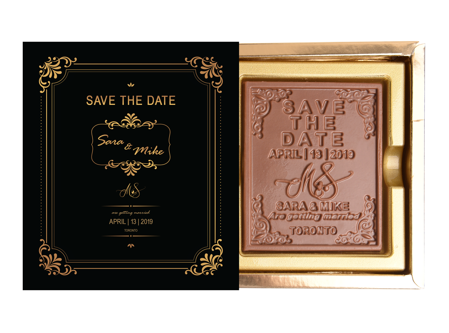 Save The Date Bar, 1 Pc Customized Belgian Chocolate