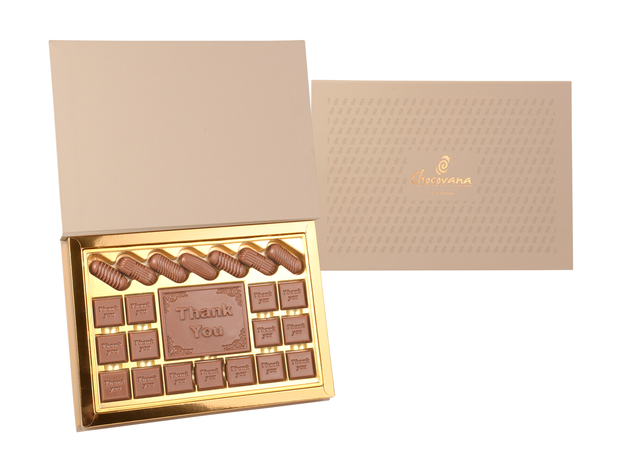Bella Thank You, 22 Pcs + 1 Bar In Customized Belgian Chocolate
