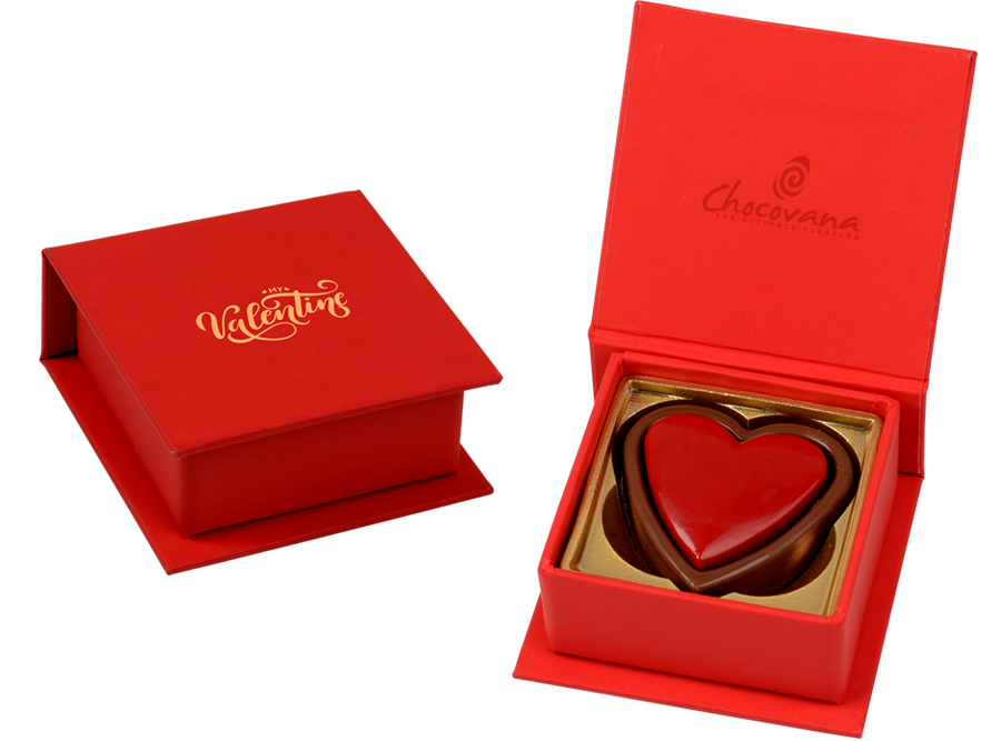Double Heart, 2 Pcs Customized Heart Belgian Chocolates